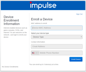 Page prompting users to enroll a device by providing device enrollment information such as MAC address, device type, contact information, and a phone number.