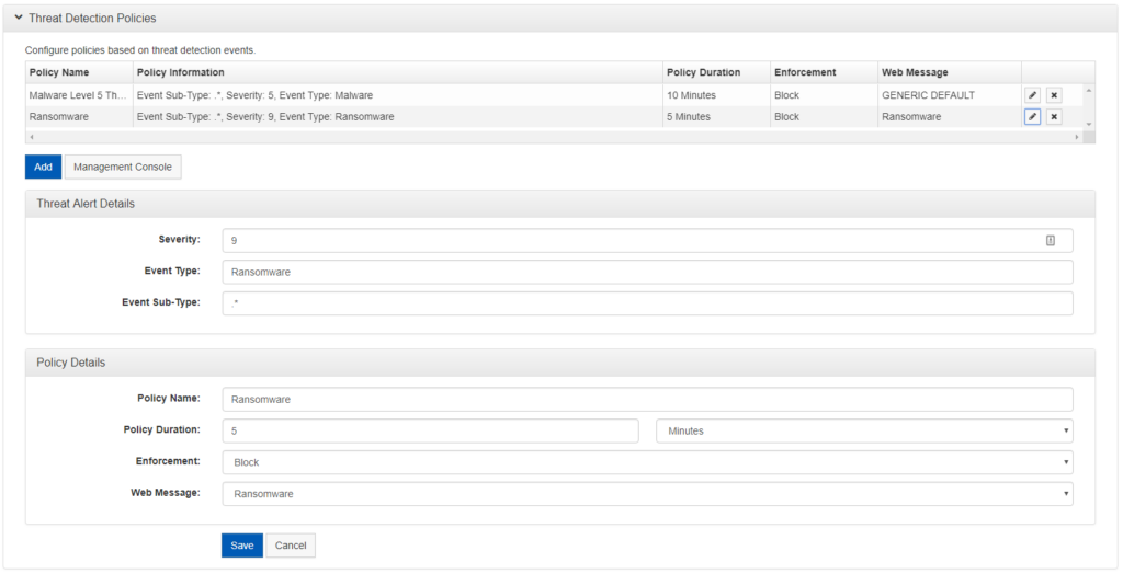 Shows threat detection policies. This page allows users to configure policies beased on threat detection events.