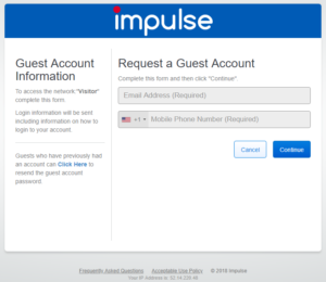 Screenshot of the SafeConnect page where guests can request an account.